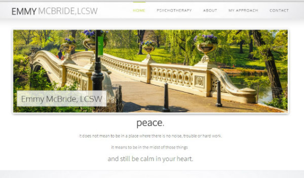 Affordable psychotherapy website, one page wordpress website for therapists